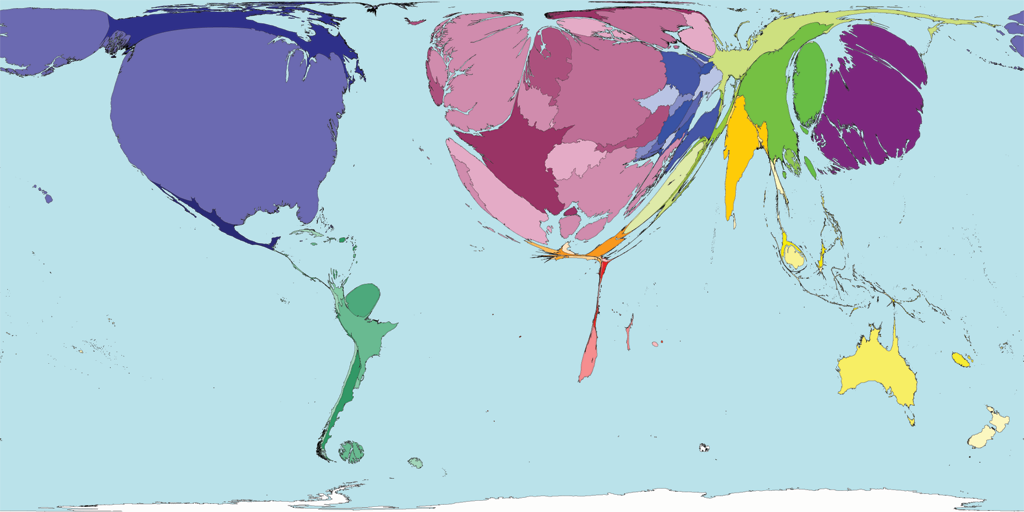 World scaled by number of documents in Web of Science by authors living there
